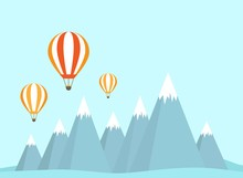 Two Orange Hot Air Balloon Fly...