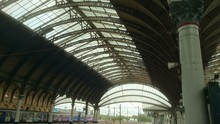 Low Angle View Of Train On York Railway Station