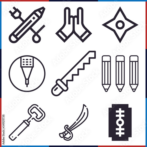 Photo Collection of 9 abrupt lineal icons
