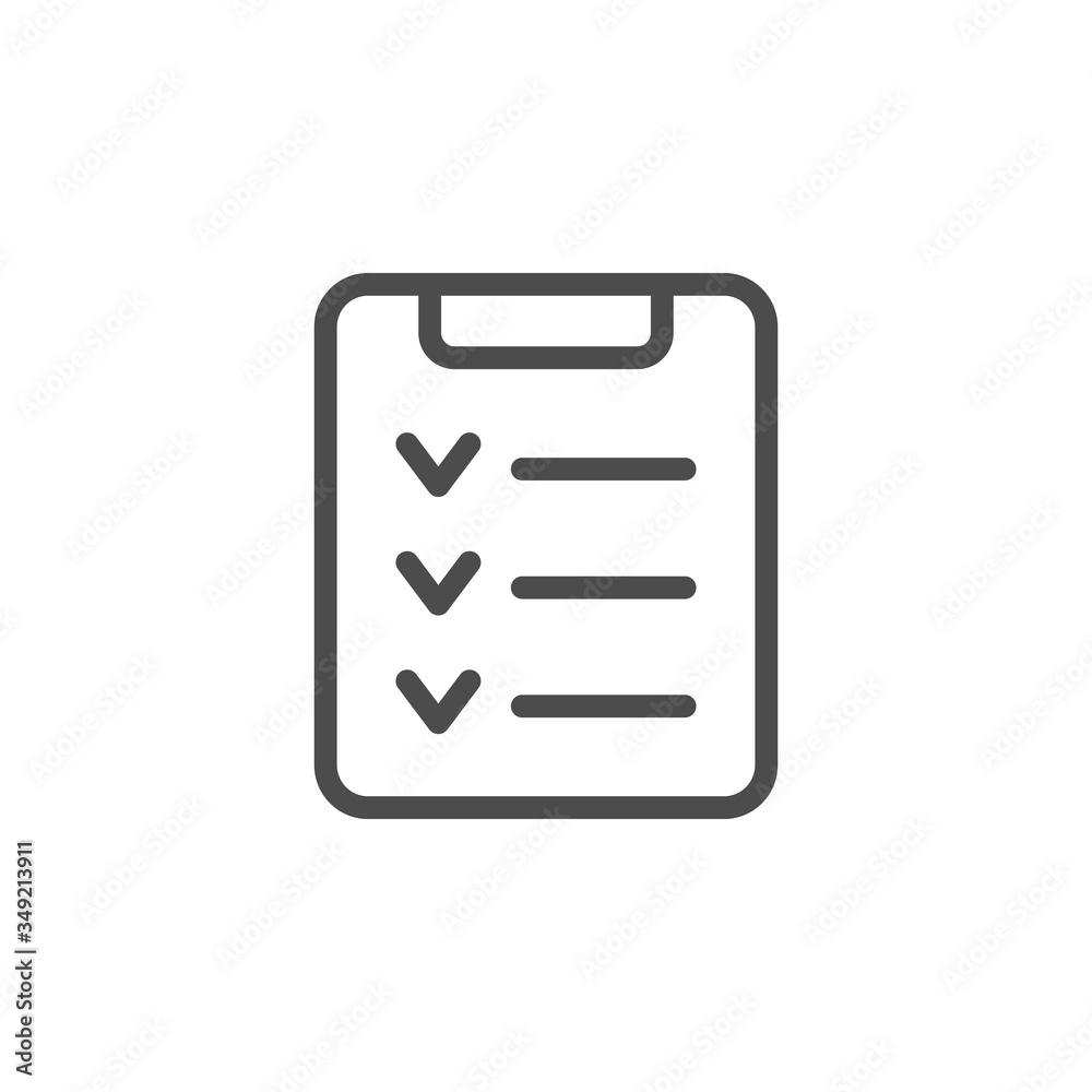 Fototapeta Check list line outline icon