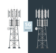 5G Mast Base Stations Set On White And Dark Background, Flat Vector Illustration Of Mobile Data Towers, Telecommunication Antennas And Signal, Cellular Equipment.