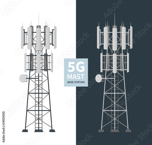 5G mast base stations set on white and dark background, flat vector illustration of mobile data towers, telecommunication antennas and signal, cellular equipment Fototapete