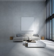 Leinwanddruck Bild The minimal lounge and double space living room  interior design and concrete wall background