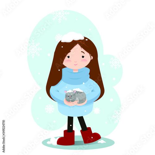 Cartoon illustration with girl adopt homeless frozen kitten Canvas Print