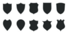 Shields Graphic Icons Set. Bla...