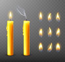 Burning, Extinguished Candle, ...