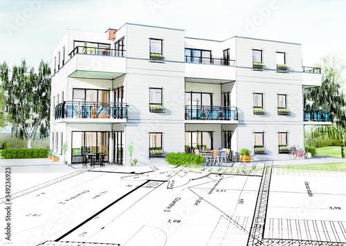 Concept 3D d'un petit immeuble résidence moderne avec balcon et jardin Billede på lærred
