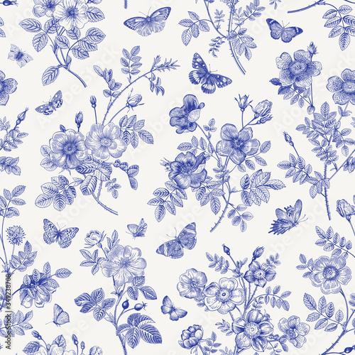 Tapety Vintage  vintage-ilustracja-kwiatowy-wzor-dzikie-roze-z-motylami-niebieski-i-bialy-toile-de-jouy