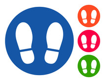 Stand Here Sticker With Foot Print To Maintain Social Distancing To Stop Coronavirus (covid-19) In Different Colors Vector Label