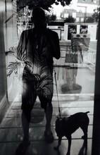 Man With Dog Behind Window