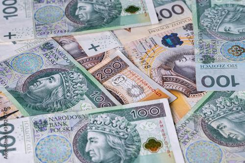Fotomural Polish Zloty banknotes (PLN) closeup