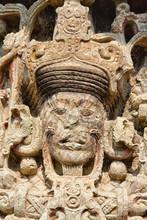 Mayan Stela At Copan Ruins, Honduras, Central America