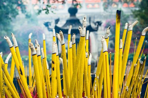 Burning Incense in a Censer, Po Lin Monastery, Lantau Island, Hong Kong Canvas Print
