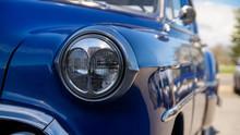 Front Light Of A Blue Vintage ...