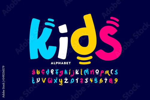 Obraz Kids style colorful font design, playful childish alphabet, letters and numbers - fototapety do salonu