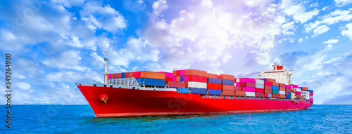 Container cargo ship, Freight shipping maritime vessel, Global business import export commerce trade logistic and transportation oversea worldwide by container cargo ship boat in the open sea Wallpaper Mural