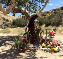 Wayside Shrine With Artificial Flowers