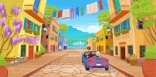 Road Panorama  Over A Street With Lanterns, Washed Clothes, Bike, Car And Lots Of Potted Flowers.Vector Illustration Of  Summer Street In Cartoon Style.