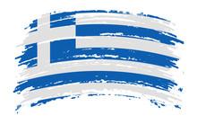 Greece Torn Flag In Grunge Bru...
