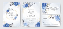 Navy Blue Peony Rose Wedding Invitation Card With Golden Leaves And Golden Frames. Template Card Set.
