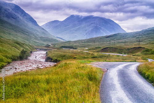 фотография Glencoe or Glen Coe and Glen Etive valley, panoramic view landscape in Lochaber, Scottish Higlands, Scotland, Great Britain, UK