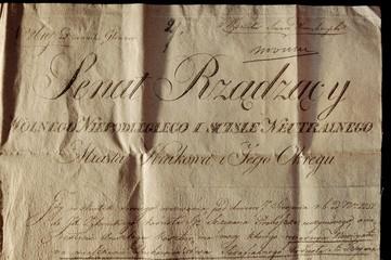 Document of the Senate of the Free City of Krakow from 1818. Dokument Senatu Wolnego Miasta Krakowa z 1818 roku.