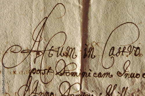 Fototapeta Old document in Latin and Polish – AD 1670 – nice calligraphy. Stary dokument po łacinie i po polsku – 1670 rok – ładna kaligrafia.  obraz