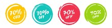 Set Of Grunge Sticker With 70 Percent Off In A Flat Design. For Sale, Promotion, Advertising