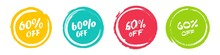 Set Of Grunge Sticker With 60 Percent Off In A Flat Design. For Sale, Promotion, Advertising