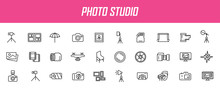 Set Of Linear Photo Studio Icons. Camera Icons In Simple Design. Vector Illustration