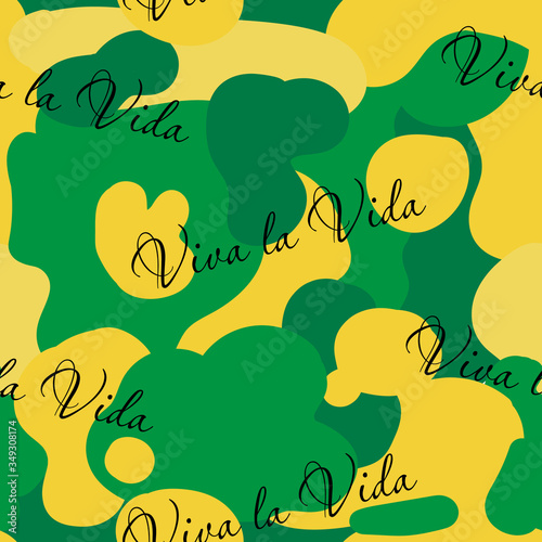 Obraz na plátně Abstract seamless pattern with caption Viva la vida and With Colored elements