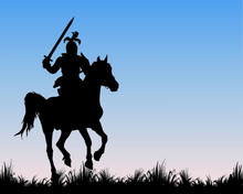 Black Silhouette Of A Medieval Knight With A Sword, Galloping On A Horse In A Field, Isolated  Image On The Background Of The Dawn Sky