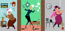 Three Senior Women Practicing Social Distancing And Having An Online Dance Party Staying At Their Own Homes, EPS 8 Vector Illustration