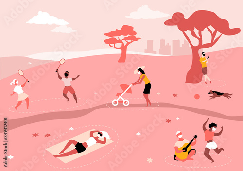 Fototapeta People safely entertaining in the park, wearing face masks and practicing social distancing, EPS 8 vector illustration obraz