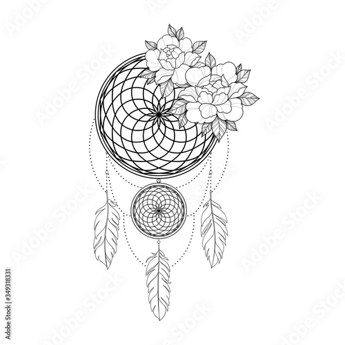 Abstract linear dreamcatcher amulet with peony flowers Wallpaper Mural