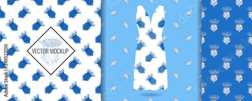 Seamless pattern on evening white dress mockup with thistle flower print Tablou Canvas