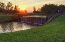 Waterfall Against Sunset Sky In Prince Edward Island