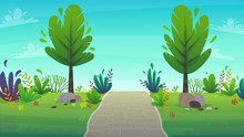 Walk Along The Road In The Park. Walking Path, Bench And Green Grass Lane With Trees Nature Landscape Background