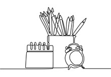 One Continuous Line Drawing Of Pencil Case, Alarm Clocks And Calendar On Office Desk. Stationery For Study And Tidy On The Table. Happy Study. Smart Education Concept Vector Illustration.
