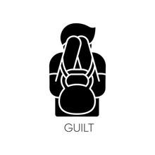 Guilt Black Glyph Icon. Man Fe...
