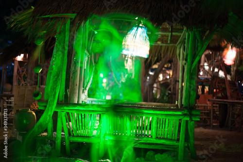 Fototapeta Digital Composite Image Of Illuminated Woman Dancing Outdoors At Night obraz na płótnie