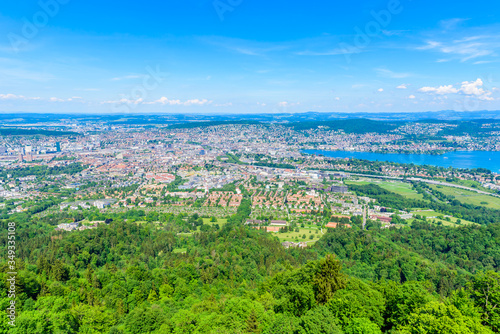 plakat Panoramic view of Zurich lake and Alps from the top of Uetliberg mountain, from the observation platform on tower on Mt. Uetliberg, Switzerland, Europe