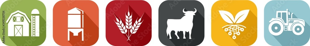Fototapeta Icon of various symbols of agriculture