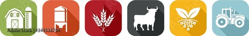 Photographie Icon of various symbols of agriculture