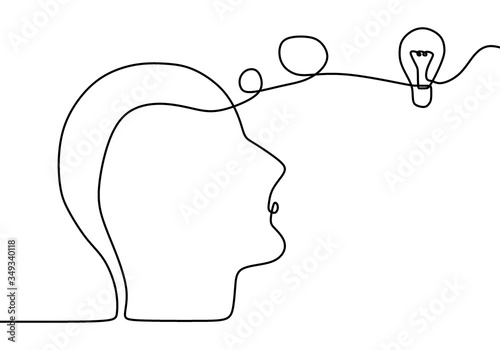 Continuous one drawn line silhouette of a man thinking with light bulb in front of her head Canvas Print