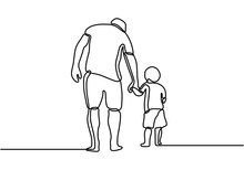 One Line Drawing Of Father And...