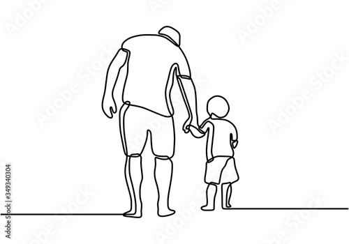 One line drawing of father and his son walking minimalist design Poster Mural XXL