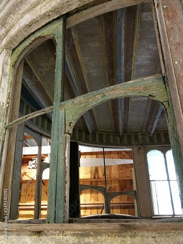 Low Angle View Of Old Wooden Boathouse Fototapete