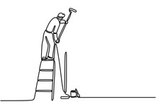 One Single Line Drawing Of Young Attractive Handyman Painting House Wall Using Paint Roller. Painter Wall Renovation Service Concept. Home Renovation Service Concept. Vector Illustration