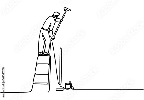 Obraz One single line drawing of young attractive handyman painting house wall using paint roller. Painter wall renovation service concept. Home renovation service concept. Vector illustration - fototapety do salonu